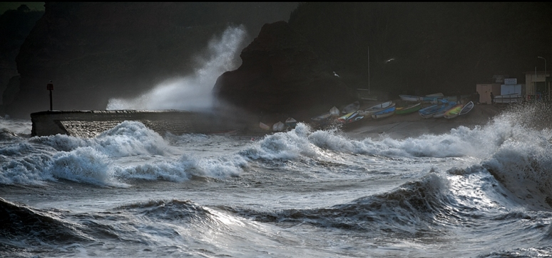 Wave after wave of angry weather hitting UK coast again.