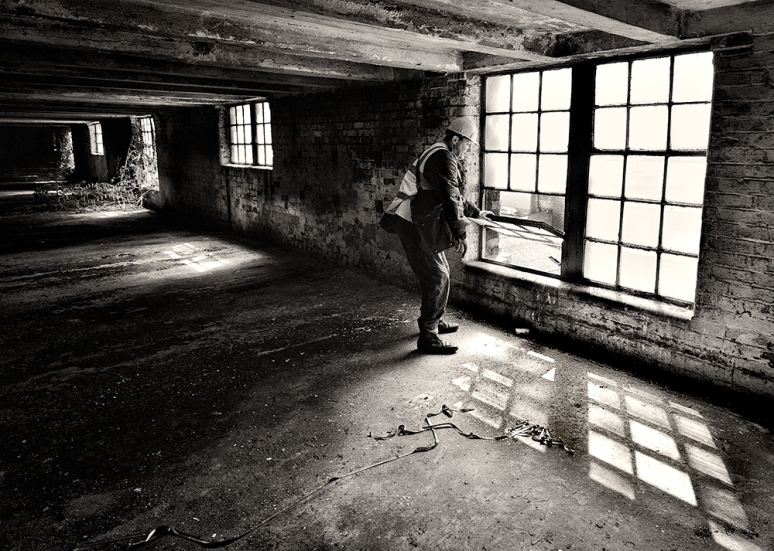 Minder and Guide on one of the nine floors of the derelict heritage building